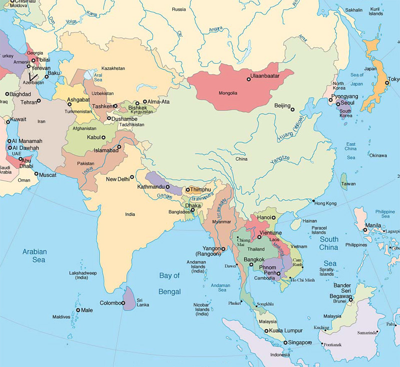 Les fleuves de l'asie