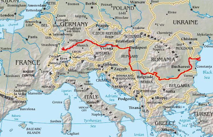 Где находится на карте дунай